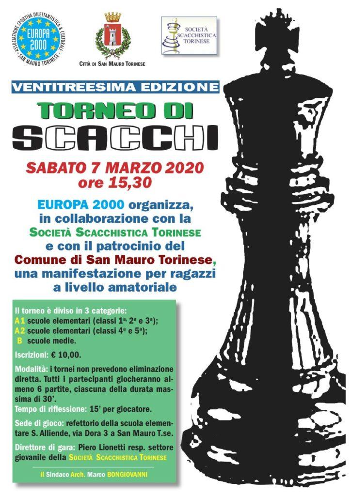 Torneo Scacchi - 7 marzo 2020 - Europa2000 San Mauro Torinese